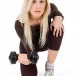 Young blond lady exercise — Stock Photo