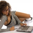 Girl with laptop — Stock Photo #1801121