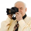 Senior successful Press photographer — Stock Photo
