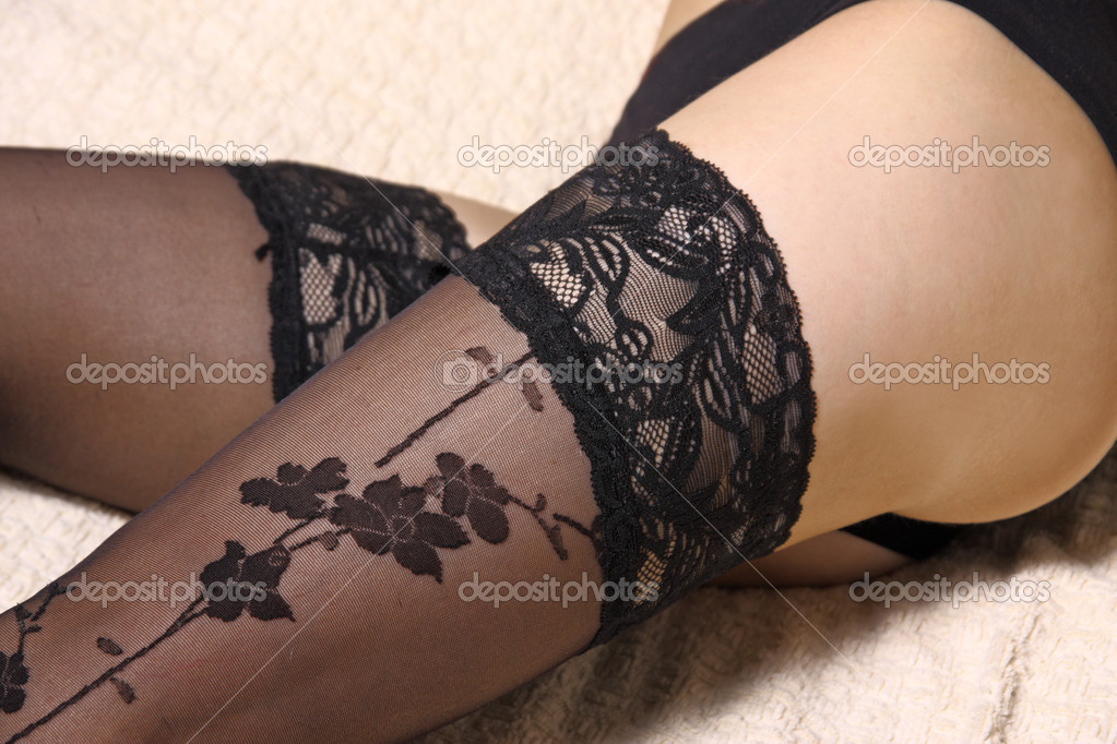 Girl's legs in sexy black stockings — Foto Stock #2244612