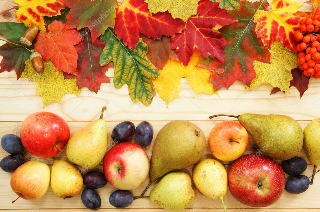 Fruit and leaf of autumn on table as decoration — Stock Photo #1873228