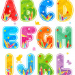 Spring or summer abc set letters A - L — Imagen vectorial