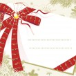 Christmas card background with red bow — Imagens vectoriais em stock