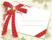 Christmas card background with red bow — Vector de stock