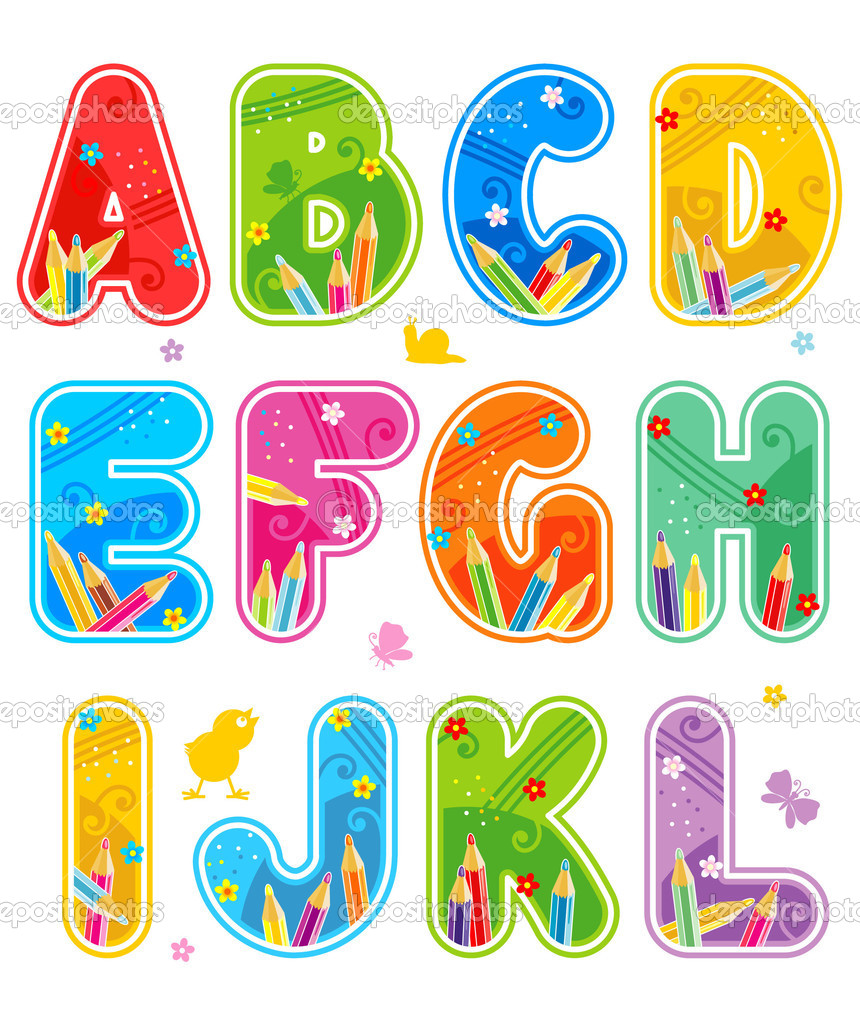 Colorful decorated spring or summer full alphabet set, part 1, letters A - L, isolated on white background, with design elements  Stock Vector #1779258