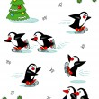 Skating penguins, cartoon characters - Stock Vector