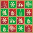 Christmas pattern, background,  icons - Stock Vector