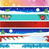 Siete banderas de navidad — Vector de stock