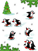 Skating penguins, cartoon characters — Stock Vector