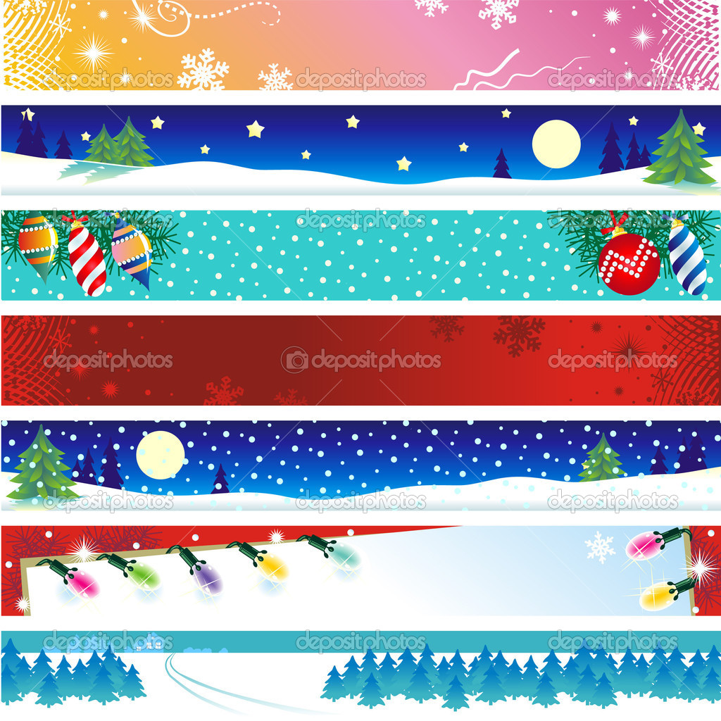 Seven Christmas, winter or New Year banners with copy space — Stock Vector #1858038