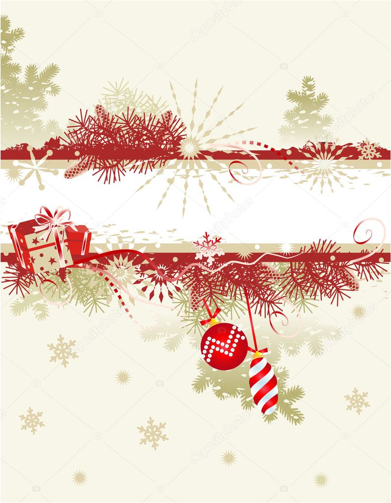 Christmas or New Year grunge background with blank banner, fir or pine tree branches, gifts, baubles and snowflakes — Stock Vector #1858318