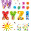 Spring or summer abc set letters W - Z — Stockvectorbeeld