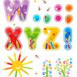 primavera o verano abc conjunto Letras w - z — Vector de stock