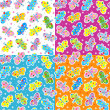 Stock Vector: Seamless butterflies patterns