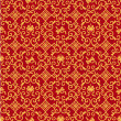 Seamless red and gold pattern - Stock Vector
