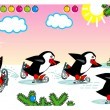 Постер, плакат: Skating penguins