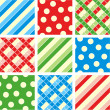 Seamless set - polka-dot, plaid, stripes — Vector de stock