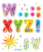 Spring or summer abc set letters W - Z — Stock Vector