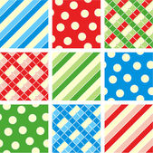 Seamless set - polka-dot, plaid, stripes — Stockvector