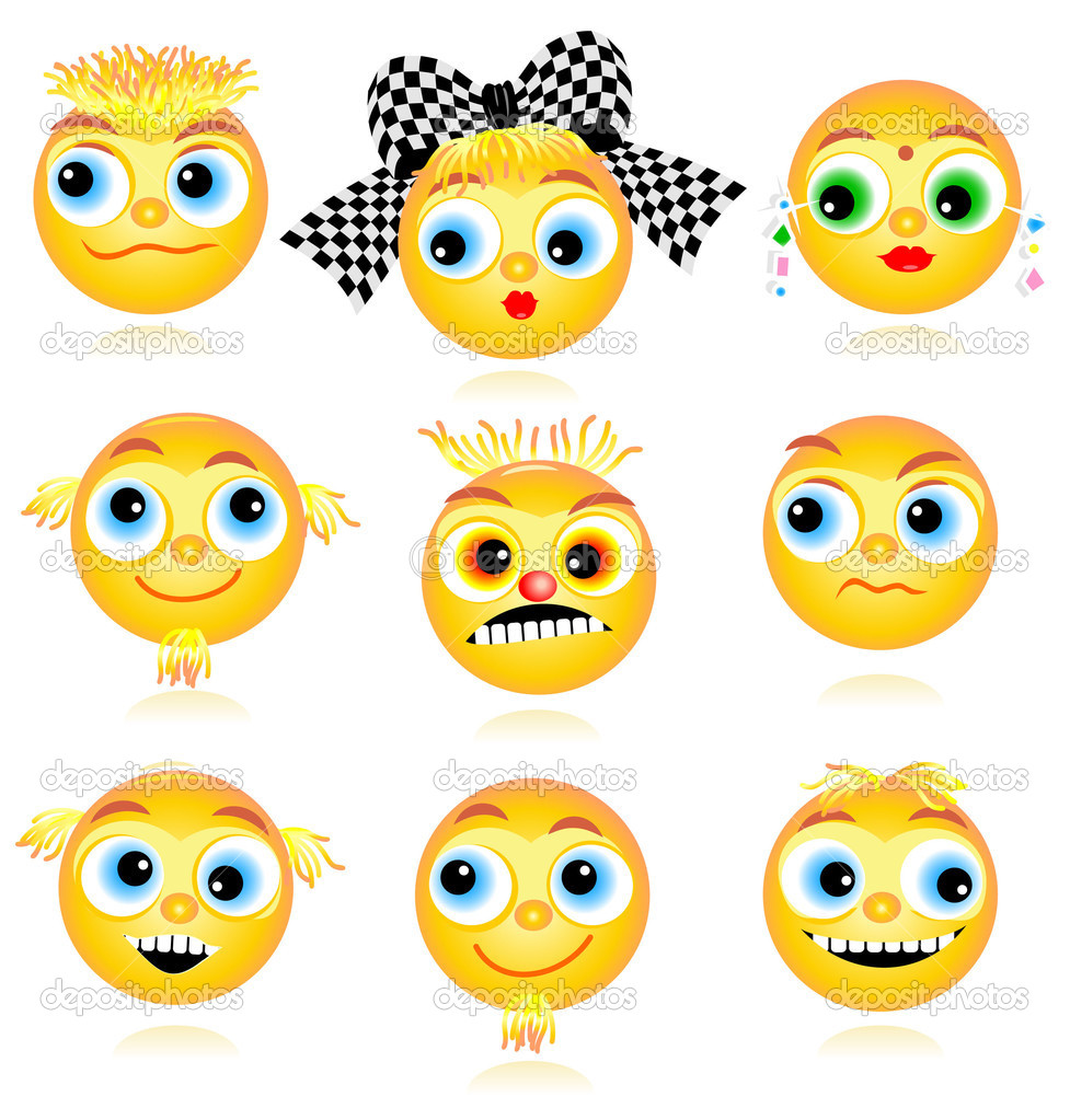 Set of nine detailed smiley faces or avatars isolated on white background — Stok Vektör #1873964