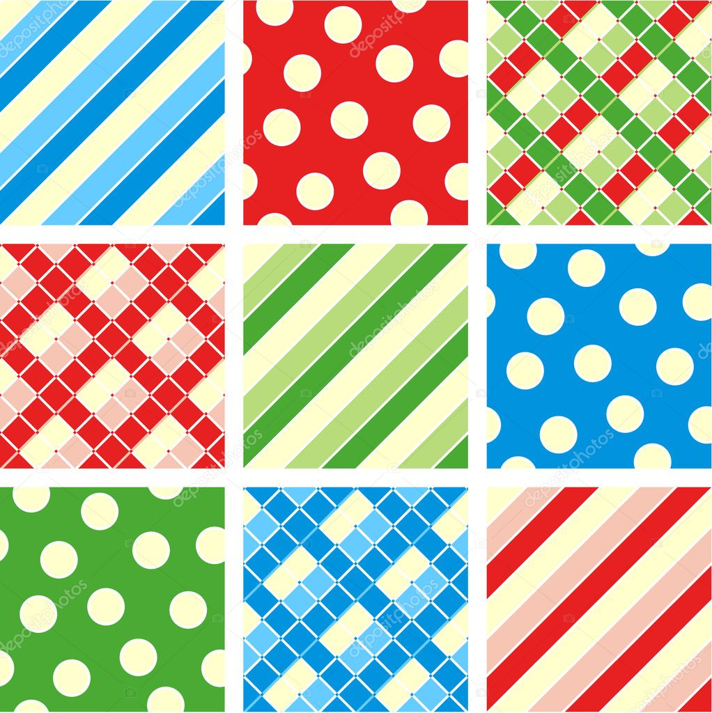 Easy tilable polka-dot (asymmetrical), checkered and striped seamless repeat patterns (prints, backgrounds, wallpapers, swatches) of corresponding colors — Imagen vectorial #1874068