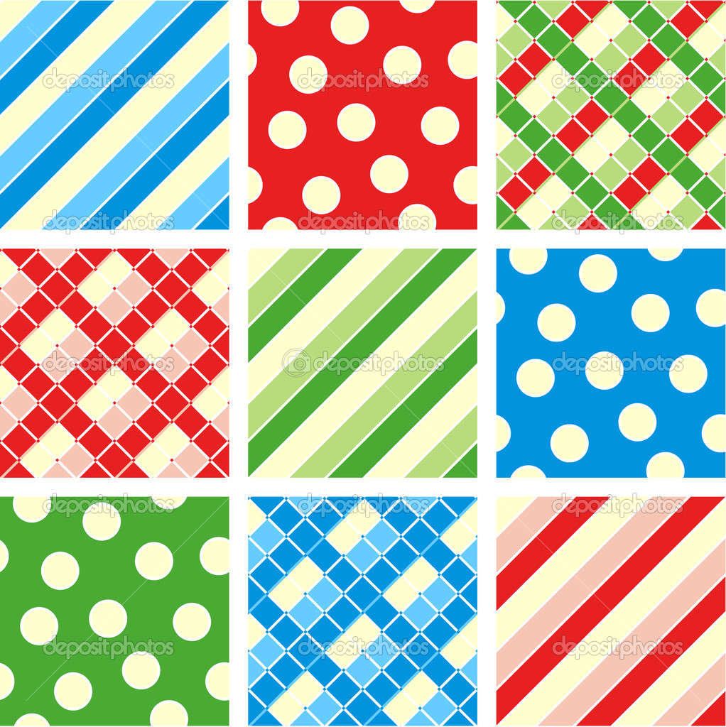 Easy tilable polka-dot (asymmetrical), checkered and striped seamless repeat patterns (prints, backgrounds, wallpapers, swatches) of corresponding colors — Векторная иллюстрация #1874068