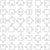 Set of 36 puzzle pieces — Stock Vector