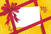 Gift, lint, rode boog, lege kaart — Stockvector