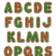 Christmas alphabet set, letters A - S — Stock Vector