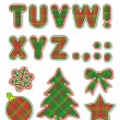 Christmas alphabet set, letters T - Z — Stockvectorbeeld