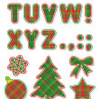 Christmas alphabet set, letters T - Z — Stock vektor