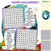 Halloween word search puzzle — Stock Vector