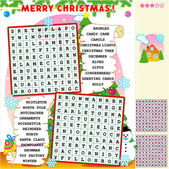 Christmas word search puzzle — Stock Vector