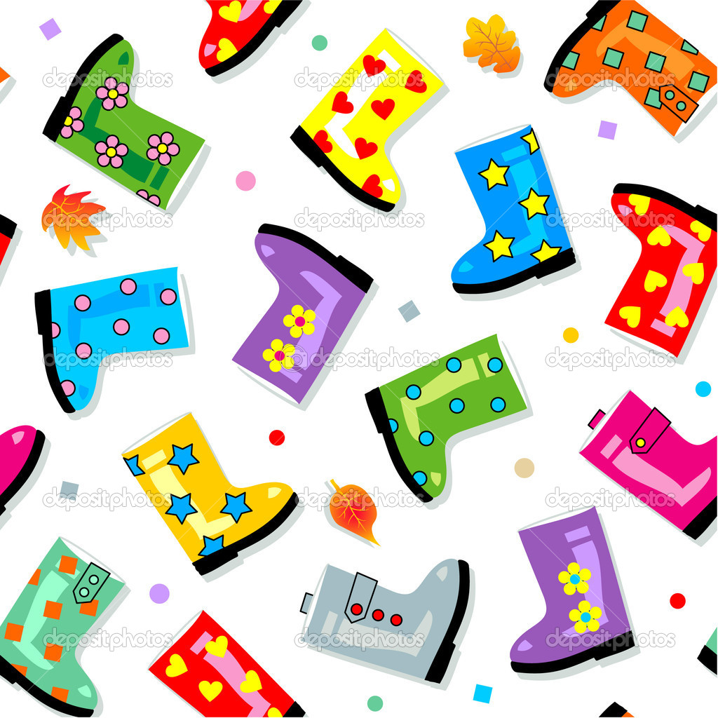 Easy tilable colorful gumboots isolated on white seamless repeat pattern (print, background, wallpaper, swatch) — Stock Vector #1999053