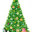 Christmas tree, ornaments, gifts, toys - Stockvektor