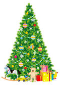 Christmas tree, ornaments, gifts, toys — Stockvector