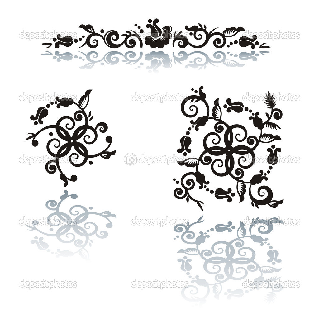 Decorative floral pattern abstract design elements — Stock Vector #2104801
