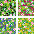 Royalty-Free Stock Vector Image: Four seamless floral patterns