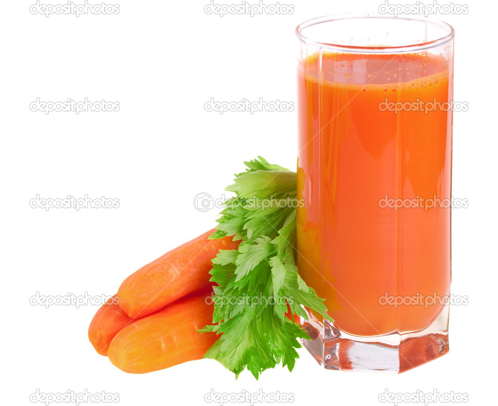 A glass of fresh carrot juice with celery leaves isolated — Stock Photo #2309176