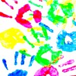 Stock Photo: Colorful child hand prints