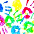 Colorful child hand prints — Stock Photo