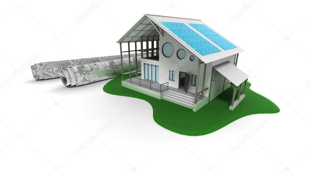 3d house with solar panels — Stock Photo #1780599
