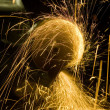 A worker is steel and sparks — Stock Photo