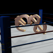 A dollar and euro fight on a ring — Stock Photo #2173174