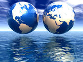 West and east hemispheres of earth — Stock Photo