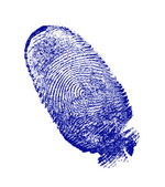 Finger-print man, done on the white sheet of paper a blue paint — Stock Photo