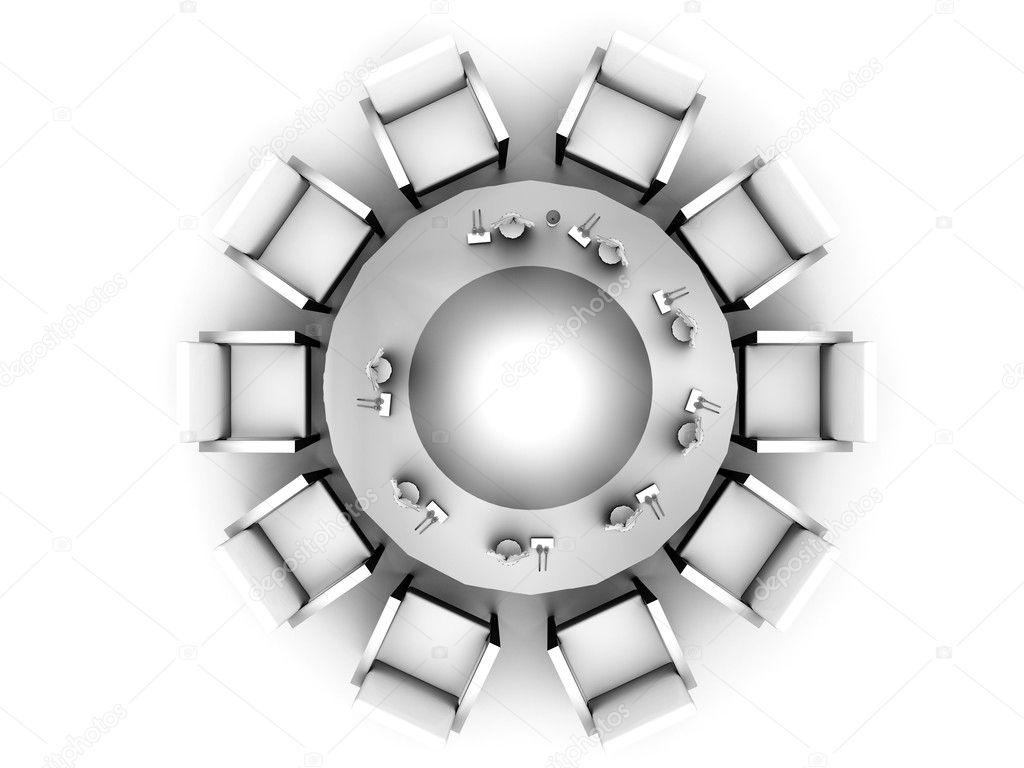 Het bovenaanzicht op een ronde tafel geserveerd door tafellinnen op ...