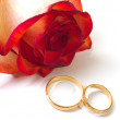 Rose and two wedding rings - Stockfoto