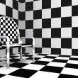 Checkered modern chair — Stockfoto