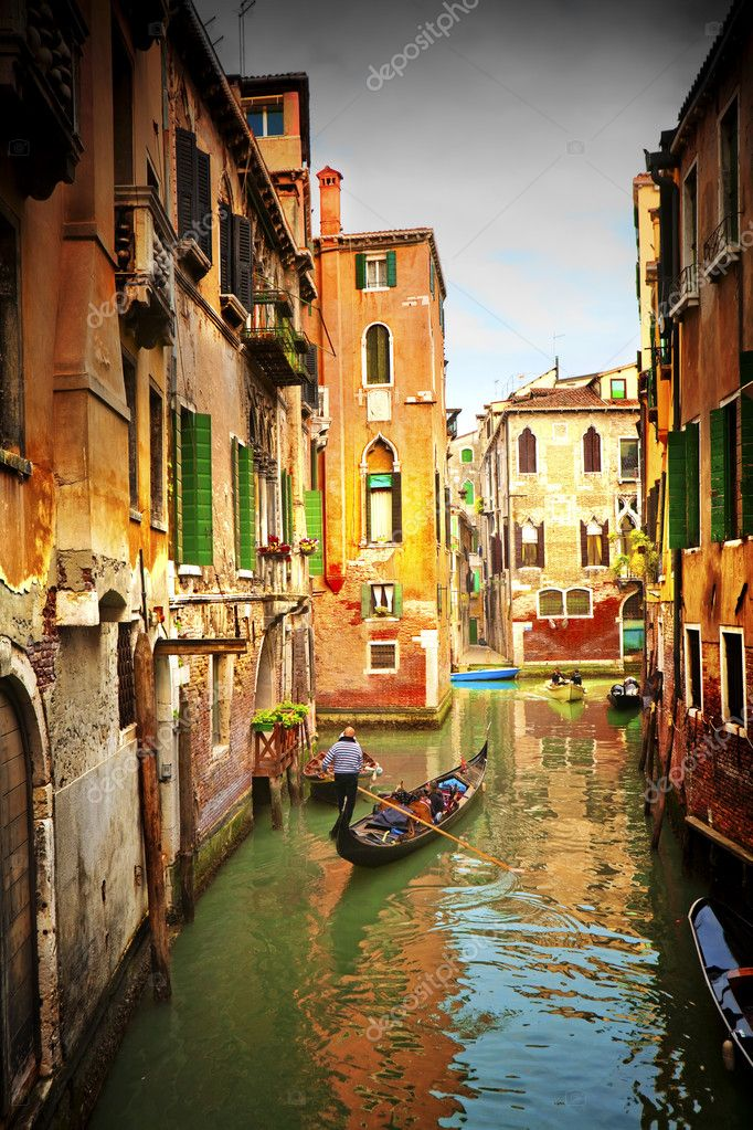 Postcard from Italy.Venice - Exquisite antique buildings along Canals. — Stock Photo #2582321
